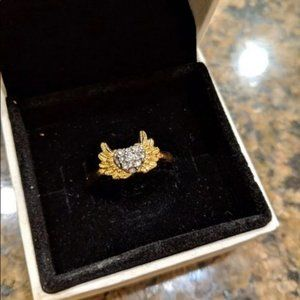 Juicy Couture heart wing ring size 7